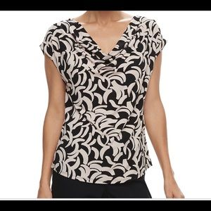 Like New Dana Buchman Cowl Neck Short Sleeve Top